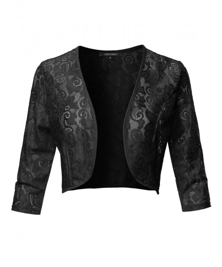 Women's 3/4 Sleeve Floral Lace Shrug Bolero Cardigan Top - Made in USA