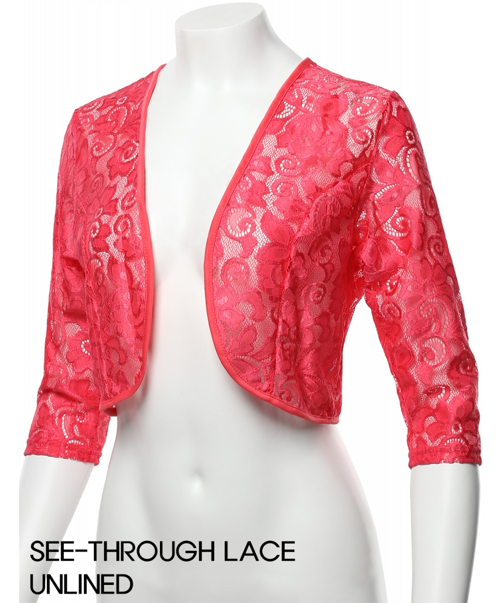 Womens 34 Sleeve Floral Lace Shrug Bolero Cardigan Top Made In