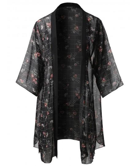 Women's Floral Print 3/4 Sleeve Kimono Style Chiffon Cardigan