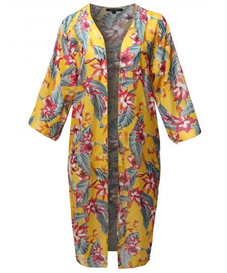 Women's Floral Print 3/4 Sleeve Kimono Style Long Cardigan