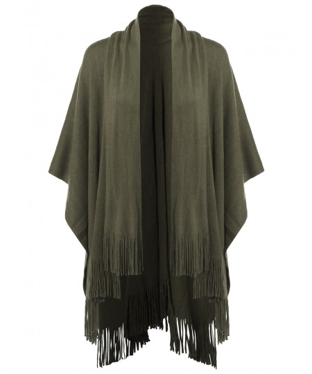 Women's Casual Knitted Poncho Capes Shawl Fringe Cardigan