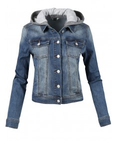 Women's Casual Soft Shell Stretch Detachable Hoodie Denim Washed Jacket