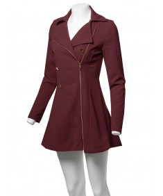 Women's Classic A-Line Double Breasted Zipper Closure Stretch Peacoat