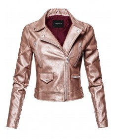 Women's Casual Zipper Closure Notched Collar Moto Faux Leather Jacket