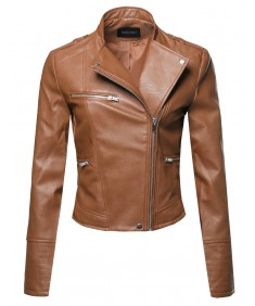 Women's Casual Stitch Detail Asymmetrical Front Zipper Moto Leather Jacket