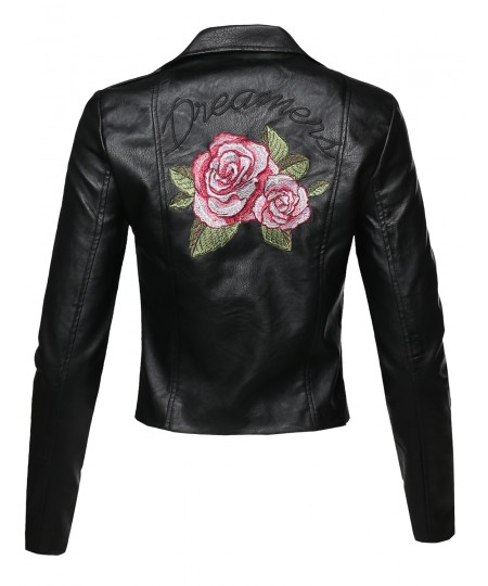 Women's Casual Asymmetrical Zipper Floral Embroidered Moto Leather Jacket