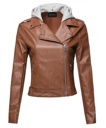 Women's Casual Detached Hood Zipper Closure Notched Collar Leather Jacket