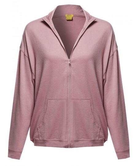 Women's Solid Zip-Up Drop Shoulder High Neck Sweatshirt Jacket