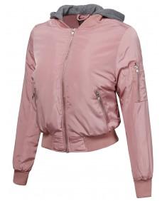 Women's Casual Solid Long Sleeve Zipper Closure Hoodie Bomber Jacket
