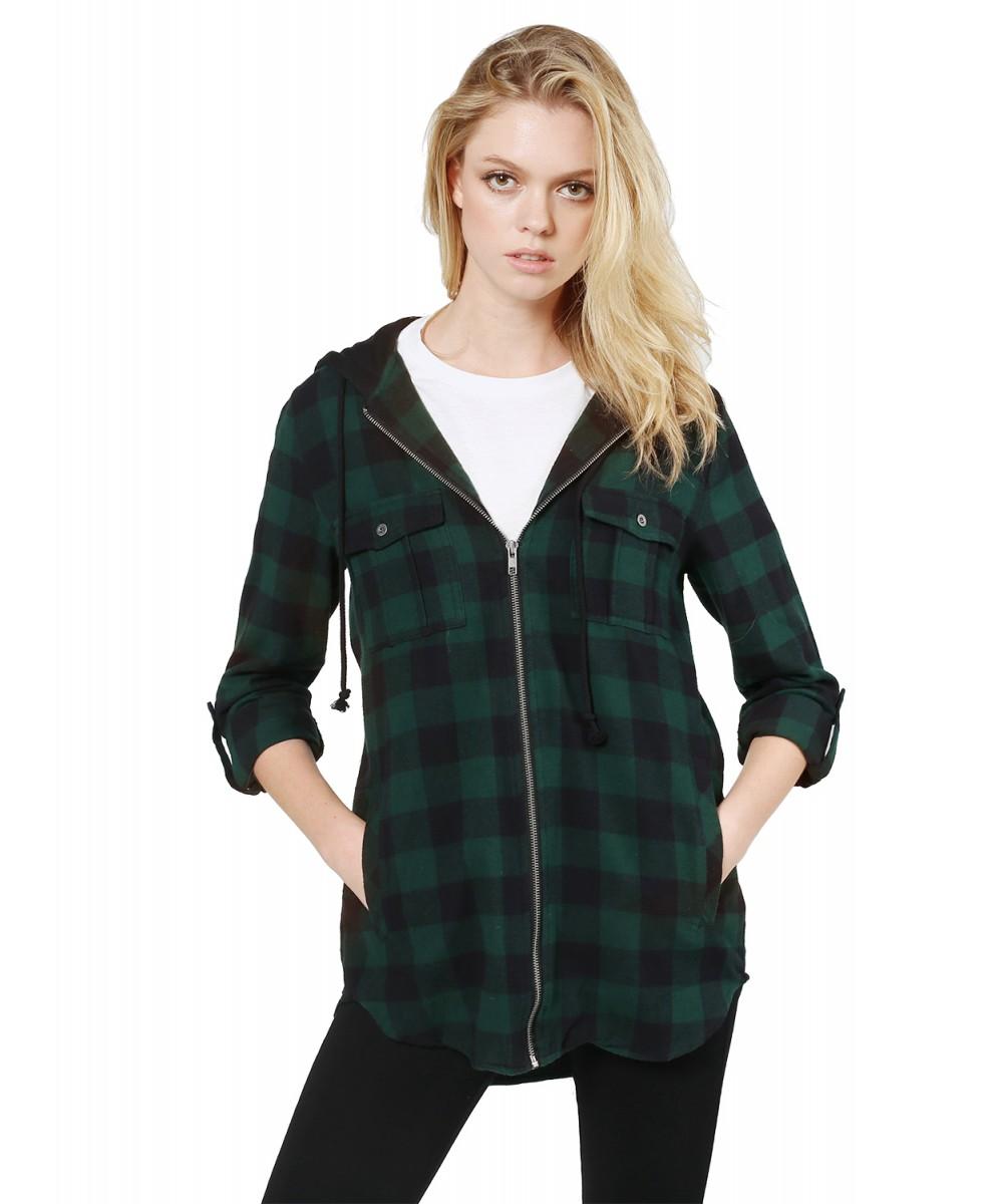 Women s Casual Zipper Closure Hooded Flannel Long Sleeve Shirts Jacket 1d2ebdf59