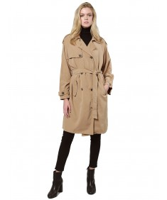 Women's Casual Loose Fit Double Breast Button Raglan Sleeve Trench Coat