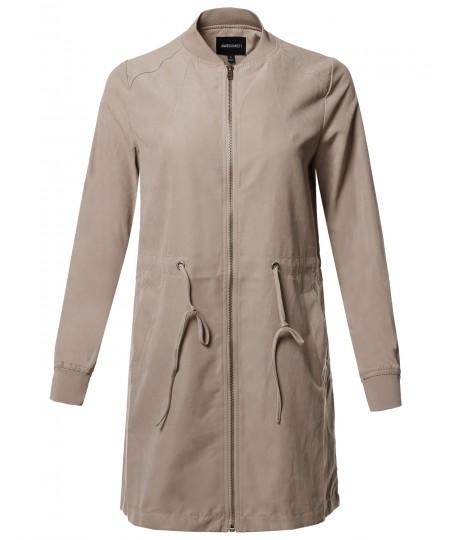 Women's Casual Solid Anorak Safari Long Sleeve Zipper Closure Long Bomber Jacket