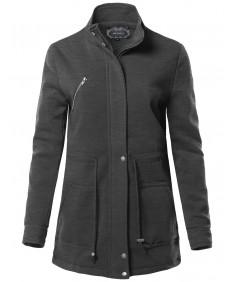 Women's Causal Basic High Neck Long Sleeve Zipper Closure Cotton Long Jacket
