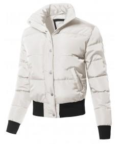 Women's Casual Padding Zipper Closure High Neck Jacket