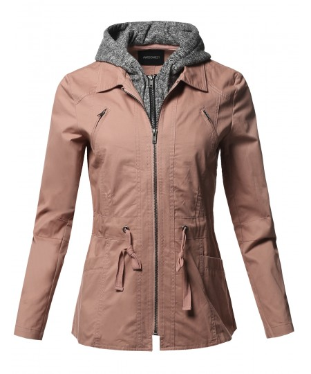 Women's Casual Detachable Hooded Military Jacket Parka Coat Outerwear