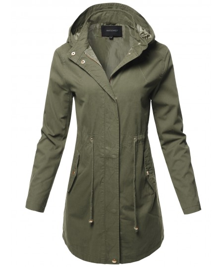 Women's Casual Hooded Drawstring Military Long Length Jacket