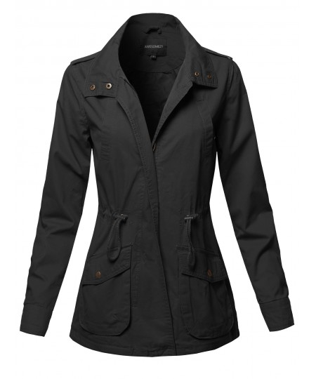 Women's Casual High Neck Military Roll-Up Sleeves Jacket