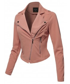 Women's Solid Asymmetrical Zipper Closure Long Sleeve Thin Biker Style Jacket