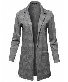 Women's Casual Soft Woven Long Sleeve Open Front Patterned Long Coat Jacket