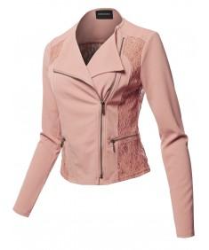 Women's Lace Detail Asymmetrical Zipper Closure Long Sleeve Thin Biker Style Jacket