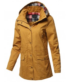 Women's Casual Long Sleeve Plaid Detail Hooded Anorak Jacket