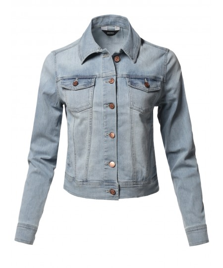 Women's Basic Long Sleeves Soft Shell Stretch Denim Washed Jacket