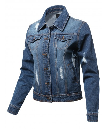 Women's Casual 100% Cotton Distressed Long Sleeves Denim Jacket
