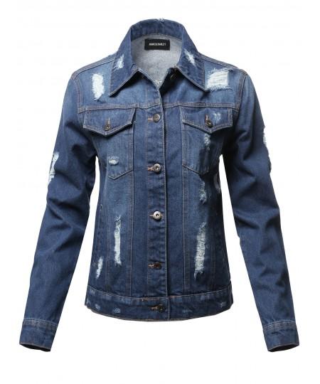 Women's Casual Distressed  Boyfriend Over-Sized Denim Jacket