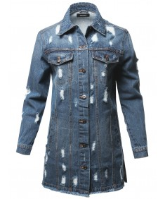 Women's Casual Distressed Long-Line Raw Hem Denim Jacket