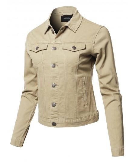 Women's Solid Basic Denim Twill Jacket