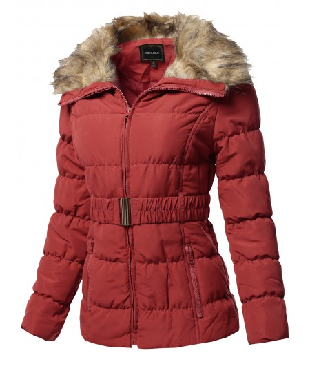 Women's Casual Zip Up Quilted Fur Trimmed Collar Padding Jacket