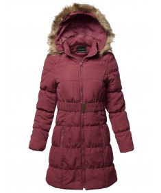 Women's Causal Zip Up Quilted Fur Hood Mid-length Padding Jacket