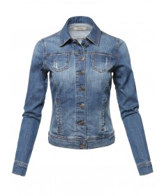 Women's Casual Slim Stretch Washed Denim Jacket