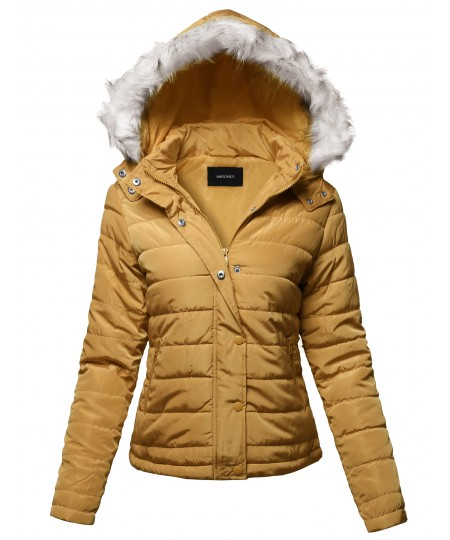 Women's Solid Basic Quilted Fur Trimmed Light Padded Jacket