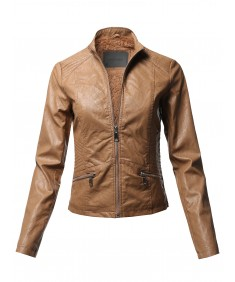 Women's Casual Quilted Detail Fur Lining Faux leather Jacket