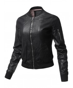 Women's Casual Long Sleeves Faux Leather Bomber Jacket