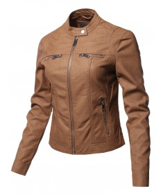 Women's Causal Long Sleeves Faux Leather Biker Stlye Jacket