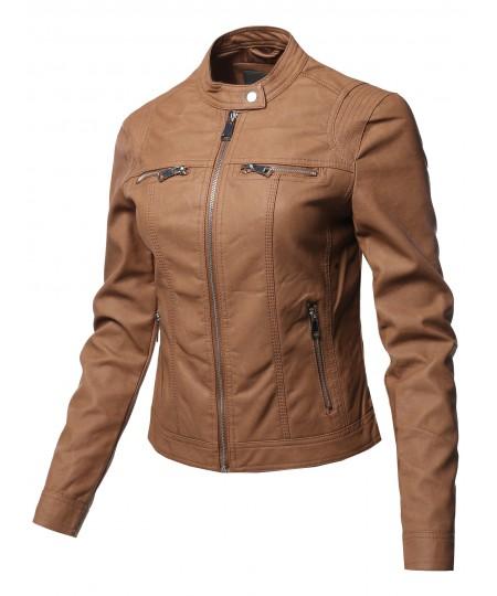 Women's Causal Long Sleeves Faux Leather Biker Stlye Jacket