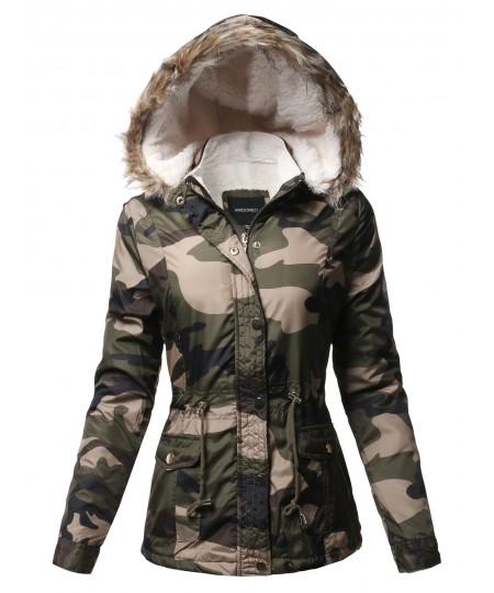 Women's Casual Sherpa Lining Fur Trimmed Hoodie Long Sleeves Jacket