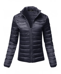 Women's Long Sleeves Zipper Closure Lightweight Quilted Padding Jacket