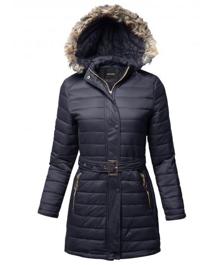 Women's Solid Sherpa Lining Fur Trimmed Hoodie Long Jacket