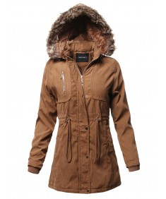 Women's Casual Vintage Style Faux Fur Lining Long Jacket
