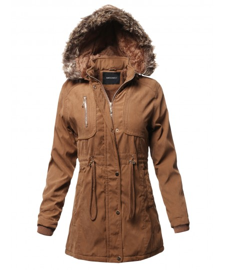 Women's Casual Vintage Style Faux Fur Lining Long Jacket