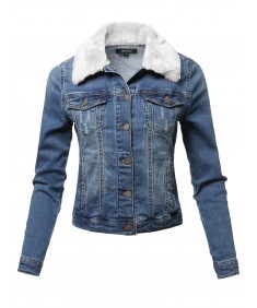 Women's Casual Fur Collar Stretchable Retro Denim Jacket