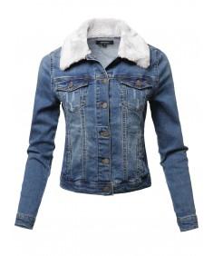Women's Casual Fur Collar Stretchable Retro Denim Jacket
