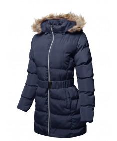 Women's Solid Faux Fur Lining Elastic Waist Belt Long Jacket