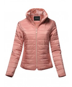 Women's Solid Warm Faux Fur Lining Quilted Puffer Winter Jacket