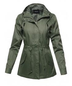 Women's Solid Lightweight Windbreaker Anorak Hooded Jacket