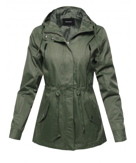 Women's Solid Lightweight Windbreaker Anorak Hooded Jacket