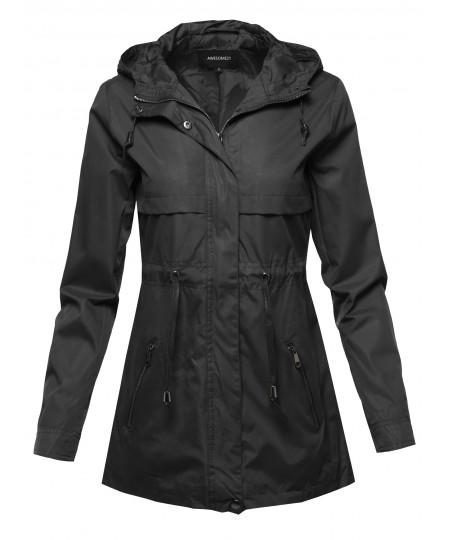 Women's Solid Lightweight Windbreaker Anorak Jacket With Hood